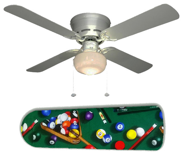 "Shoot Billiards Pool Table 42"" Ceiling Fan And Lamp"