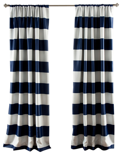 Stripe Blackout Navy Window Curtain Contemporary Curtains By Lush Decor