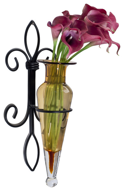 Wall Hanging Amphora Flower Vase Sconce On Fleur Lys Iron