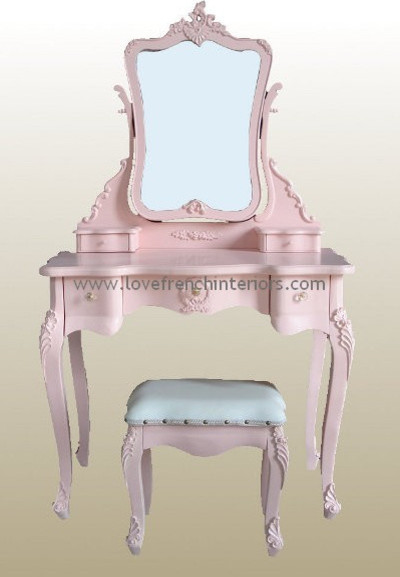 Dressing Table With Mirror And Stool: Rose Pink French Dressing Table, Mirror And Stool