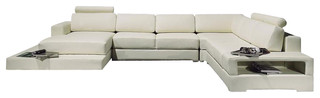 T63 white top grain leather sectional sofa with built in for Modern black leather sectional sofa with built in light