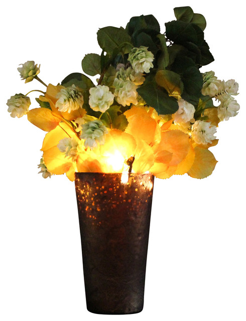 Hops and aspen illuminated floral design brown frosted for Artificial hops decoration