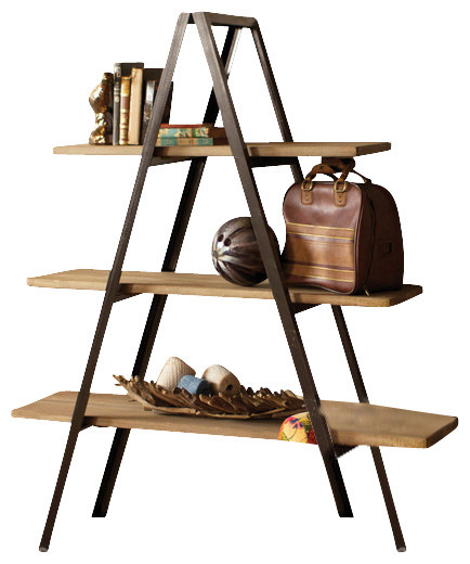 Metal A-Frame Shelving Unit, 3 Wooden Shelves - Contemporary - Display ...