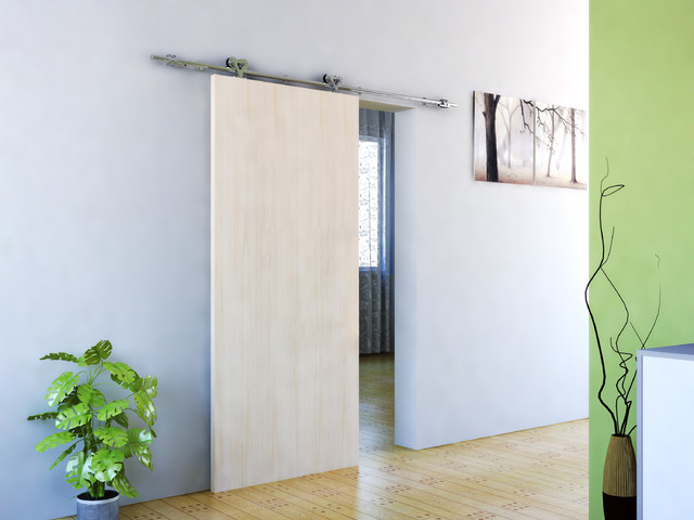 Modern barn door hardware for wood door contempor neo for Herrajes puerta granero