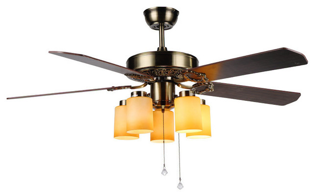 Yellow Ceiling Fan : Ceiling fan with yellow cylinder glass shade lights