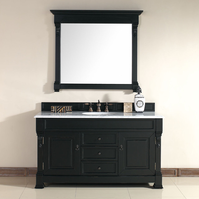 60 Inch Brookfield Antique Black Single Vanity Traditional Bathroom Vanit