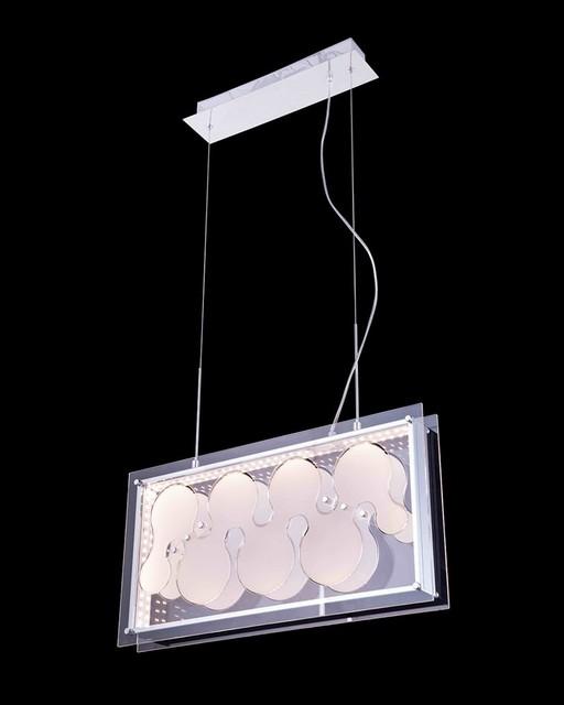 modern style led pendant light with rectangular glass
