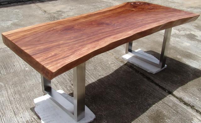 Live Edge Solid Slab Acacia Wood Dining Table By Flowbkk