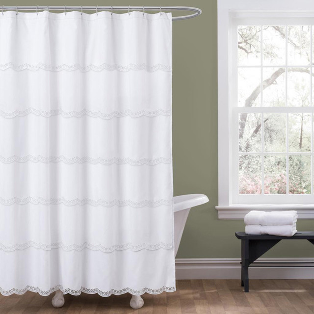 lush decor dorein white shower curtain contemporary. Black Bedroom Furniture Sets. Home Design Ideas