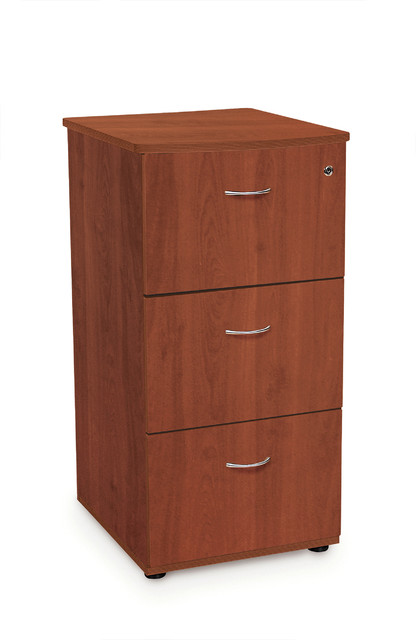 3-Drawer Locking File Cabinet, Cherry - Craftsman - Filing Cabinets - by OFM