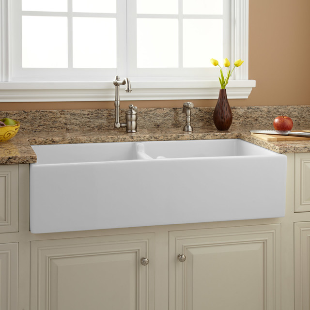 """Risinger Sink >> 39"""" Risinger Double-Bowl Fireclay Farmhouse Sink - White - Traditional - Kitchen Sinks - by ..."""