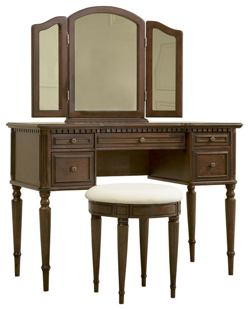 Powell Warm Cherry Vanity With Mirror And Bench Traditional Bedroom