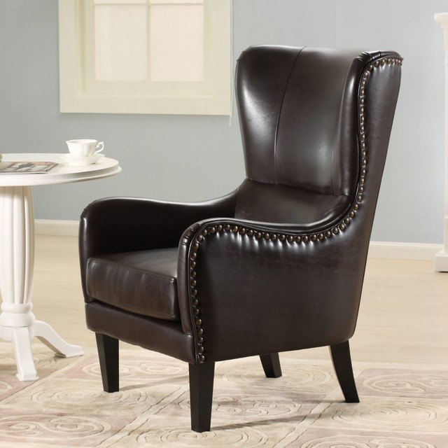 Salerno Brown Leather Studded Club Chair Modern Armchairs And Accent Chai