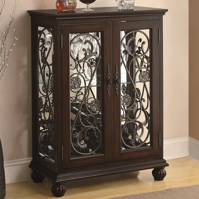 Wine Rack with Two Doors and Metal Scroll Details - Contemporary - Wine Racks - new york - by ...