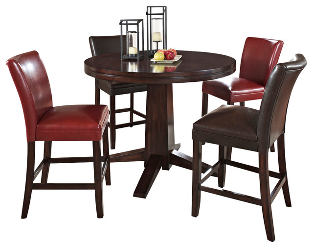 steve silver hartford 4 piece counter dining room set with red chairs