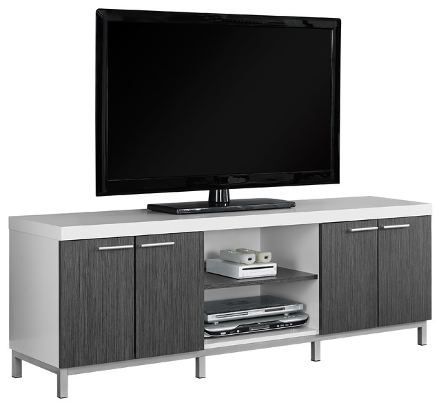 White Grey Hollow Core 60 L Tv Console Modern
