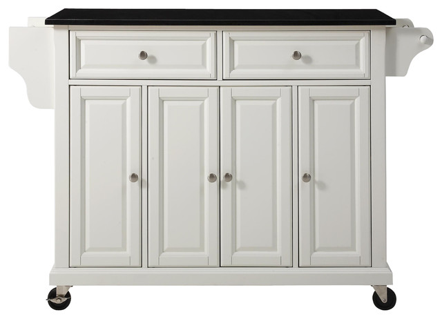 kitchen island cart white with black granite top
