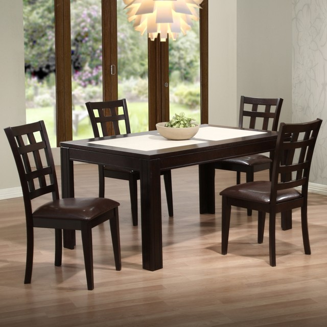 Asbury espresso 5 piece dining room set arts crafts dining tables by lamps plus - Arts and crafts dining room furniture ...