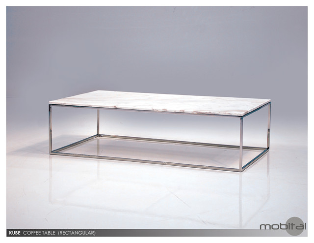 Mobital Kube Square Coffee Table In White Marble Top Contemporary Coffee Tables By Beyond