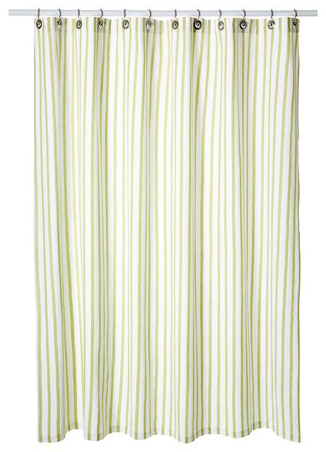 Thin Stripe Shower Curtain Light Green Contemporary Shower Curtains