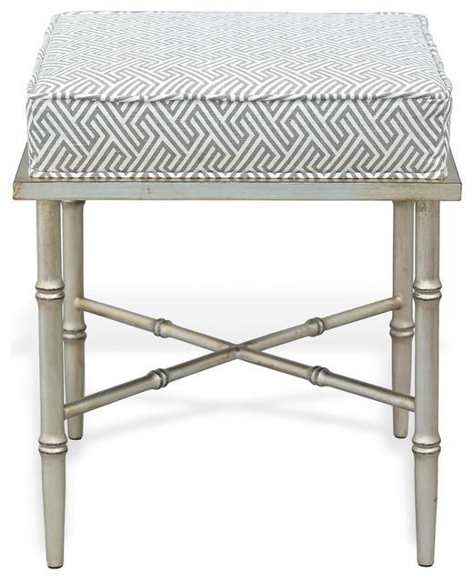 Arietta Silver Stool White Gray Contemporary Vanity