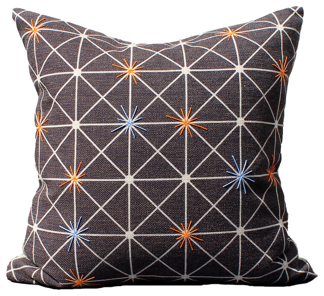 Black Linen Throw Pillows : Twinkle on Black Linen : Whipstitch Throw Pillow - Contemporary - Decorative Pillows - by red ...