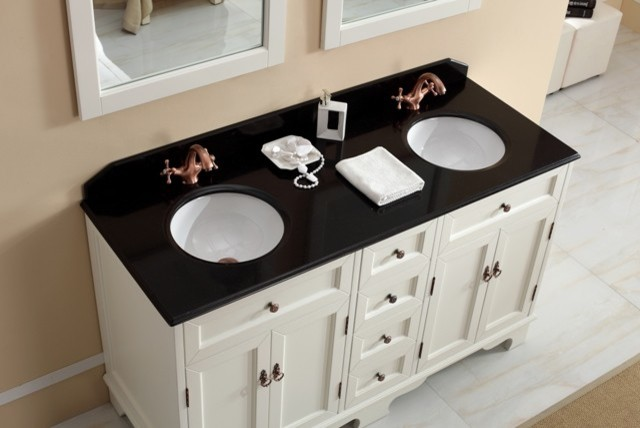 Casoria 1500mm double basin white vanity with marble top for Marble top console sink