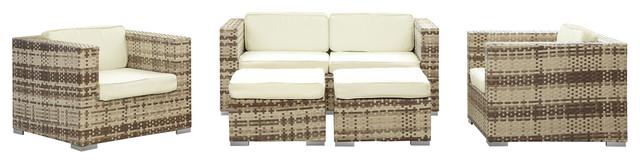 Corona Outdoor Wicker Patio 5 Piece Sectional Sofa Set In