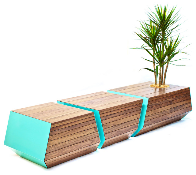 Boxcar Bench Contemporary Outdoor Benches By