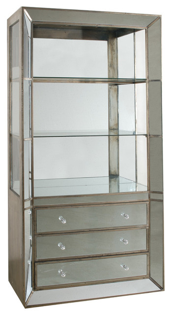 Mirrored Cabinet Shelf With Drawers - Traditional - China Cabinets And Hutches - by Fantastic ...