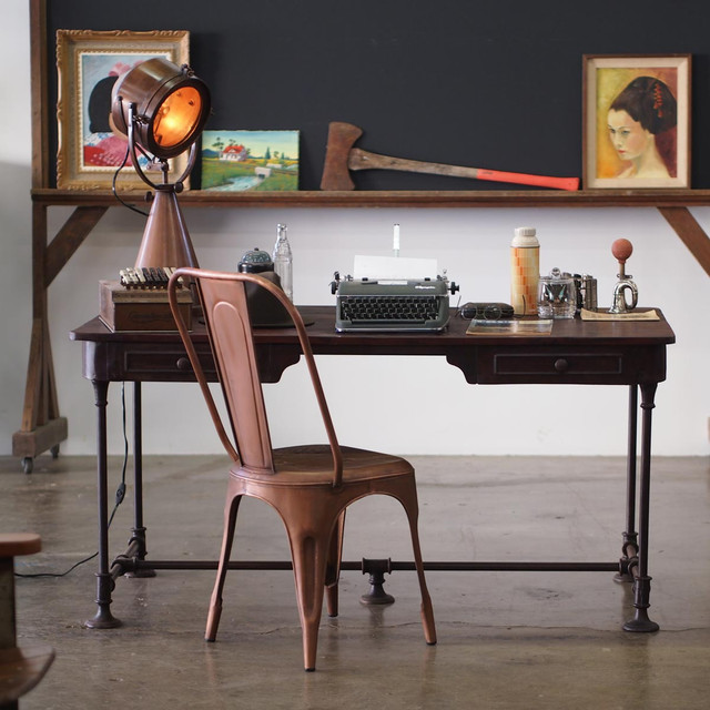 Bettendorf Industrial Style Desk Eclectic Los Angeles