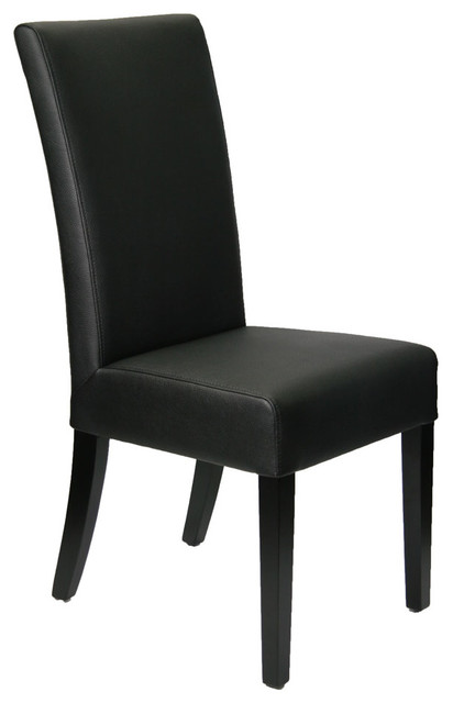 High Back Black Leather Dining Room Chair Modern