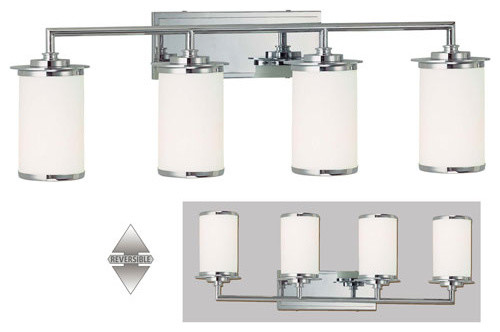 Chrome Bath Lighting Fixtures: Glass Note Chrome Fluorescent Four-Light Bath Fixture