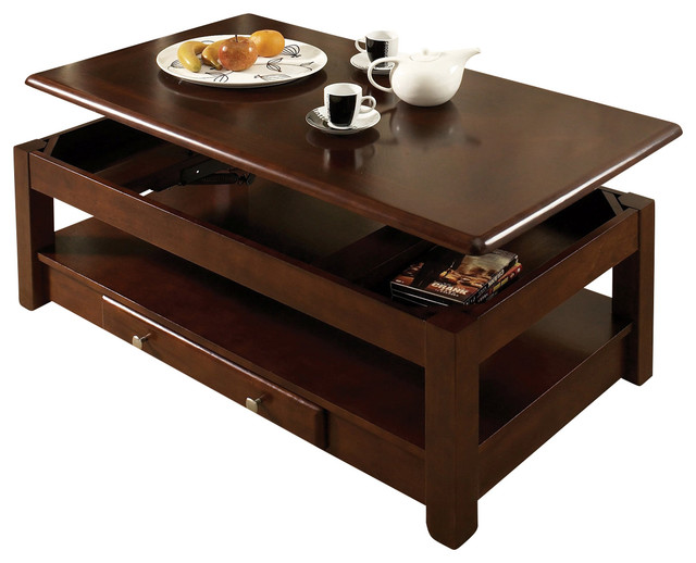 Dark Wood Lift Top Coffee Table