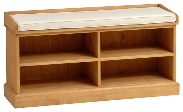 Dorchester Pine Shoe Storage Bench With Cushion Country Accent Storage Benches East