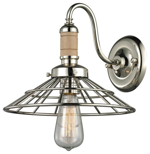 Elk Lighting Sconce: Elk Lighting Spun Wood Collection 1 Light Sconce In