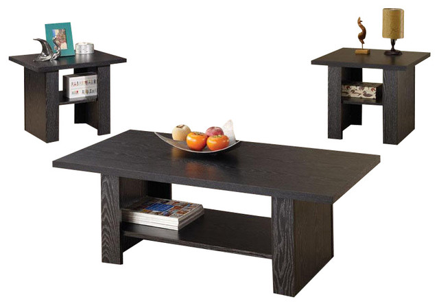 3 Pc Simple Design Black Accent Coffee Table End Table Occasional Table Set Contemporary