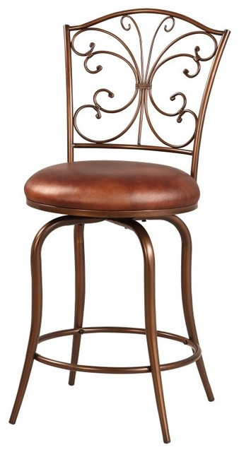 Linon 24 In Butterfly Back Swivel Counter Stool Coffee Brown 034552mtl01u Contemporary Bar