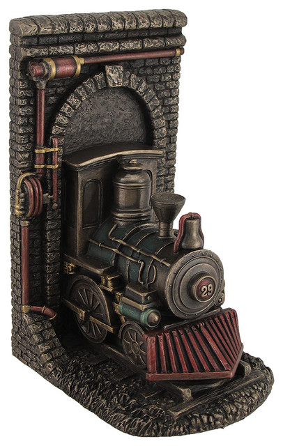 Steampunk steam locomotive bronze finished single bookend traditional bookcases by zeckos - Steampunk bookends ...