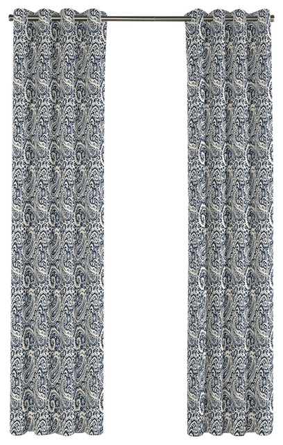 ... Navy Blue Paisley Grommet Curtain, Single Panel traditional-curtains