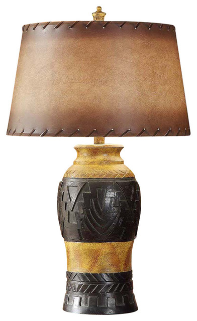 reservation resin table lamp 30 5 iron and wood finish antique leather shade eclectic table. Black Bedroom Furniture Sets. Home Design Ideas