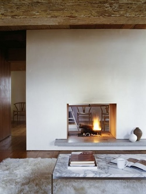 Open fireplace with no visible surround for Open fireplace ideas