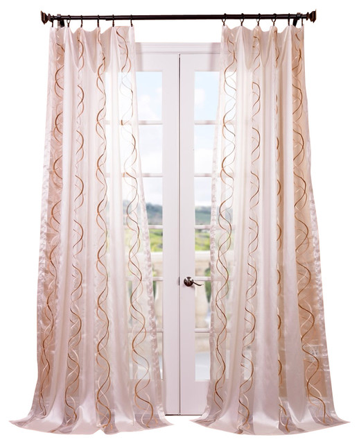 camille taupe gold embroidered sheer curtain single panel