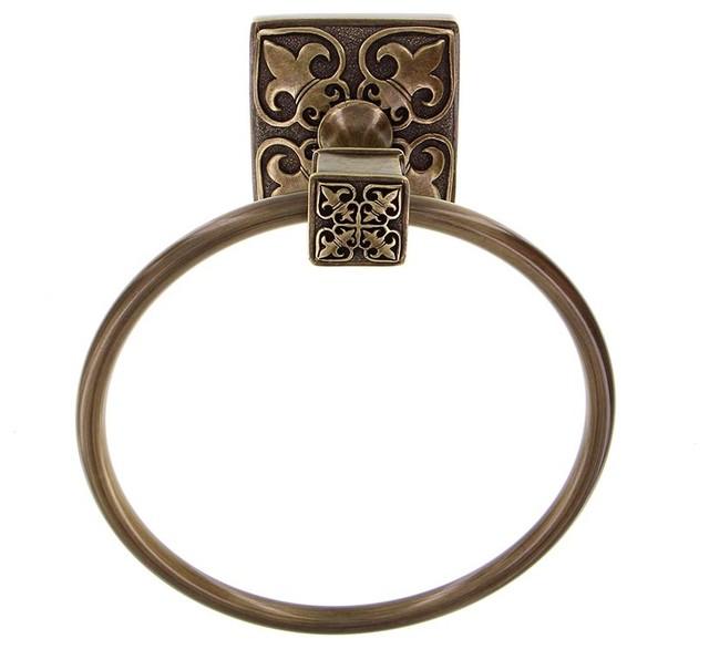 fleur de lis towel ring antique brass traditional