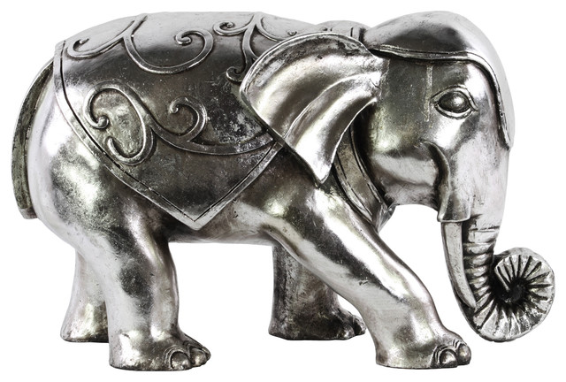 Resin Standing Elephant Figurine Decorative Objects And Figurines By Urban Trends Collection: silver elephant home decor