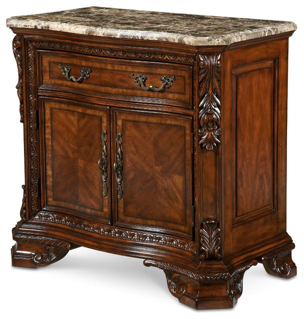 Old World Marble Top Nightstand Victorian Nightstands