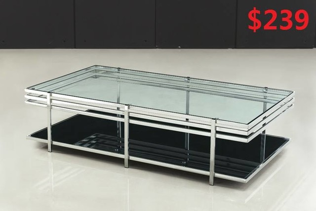 Stainless steel tempered glass coffee table modern for Tempered glass coffee table