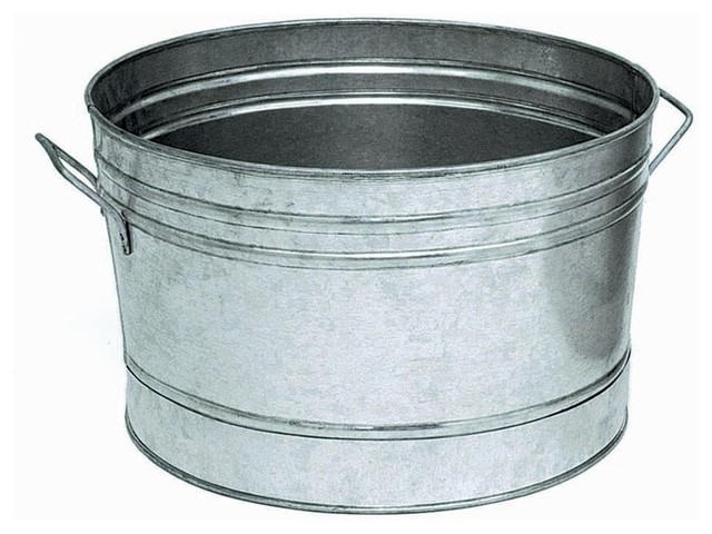 Round Galvanized Steel Planter Tub Traditional Utility