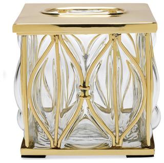 Caged glass tissue holder brass frontgate Glass toilet roll holder