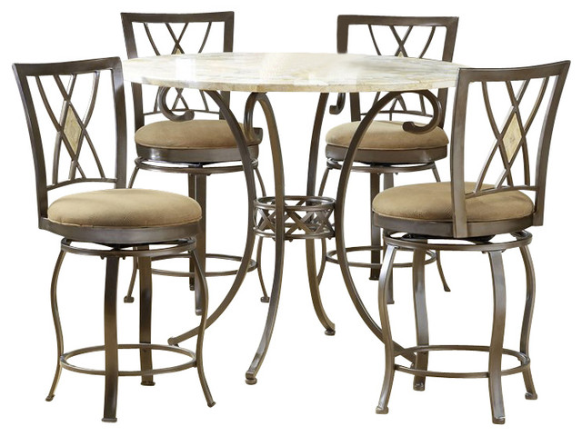 Hillsdale Brookside 5 Piece Counter Height Dining Table Set With Diamond Stoo